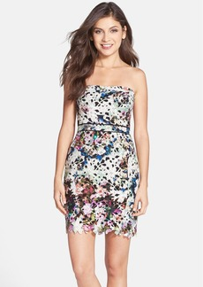Nicole Miller Floral Print Lace Strapless Sheath Dress