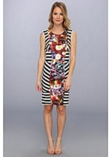 Nicole Miller Flower Stripe Stretch Jersey Dress