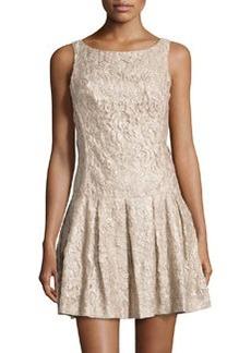 Nicole Miller Foiled Floral-Lace Drop-Waist Dress, Khaki
