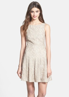 Nicole Miller Foiled Lace Fit & Flare Dress