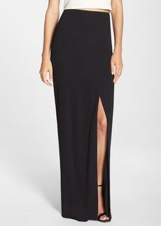 Nicole Miller Front Slit Stretch Crepe Maxi Skirt