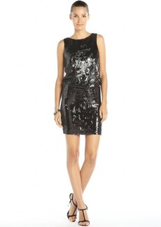 Nicole Miller gunmetal and silver stretch nylon double sided sequin 'Mimosa' dress