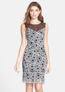 Nicole Miller Illusion Yoke Stretch Lace Cocktail Dress