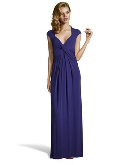 Nicole Miller ink blue stretch jersey 'Jack & Ginger' v-neck knotted gown