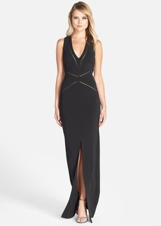 Nicole Miller Jersey V-Neck Gown