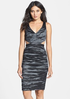 Nicole Miller 'Kelsey' Cutout Ruched Metallic Body-Con Dress
