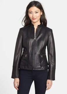 Nicole Miller Lambskin Leather Peplum Jacket