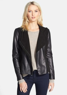 Nicole Miller Leather & Suede Hooded Jacket