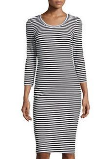 Nicole Miller Long-Sleeve Striped Dress, Black/White