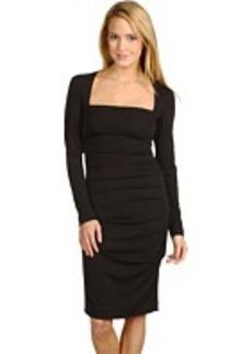 Nicole Miller L/S Stretchy Matte Tuck Dress
