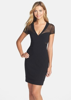 Nicole Miller Mesh Inset Jersey Sheath Dress
