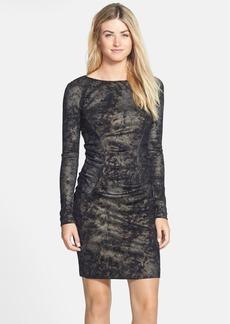 Nicole Miller Metallic Print Ponte Body-Con Dress