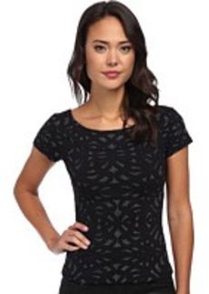 Nicole Miller Metallic Swirl Short Sleeve Knit Top