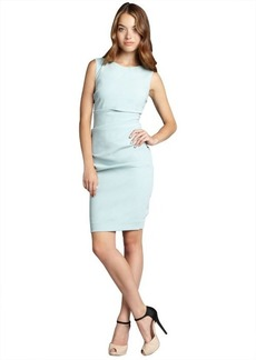 Nicole Miller mint stretch crepe tuck pleat crewneck dress