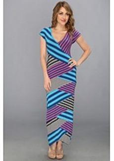 Nicole Miller Multi Striped Jersey Long Dress