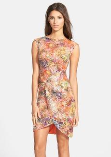 Nicole Miller Multicolor Sequin Twist Front Sheath Dress