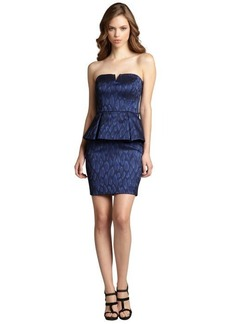 Nicole Miller navy leopard jacquard strapless party dress