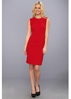 Nicole Miller Neck Detail Stretch Crepe Dress