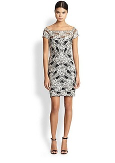 Nicole Miller Off-The-Shoulder Stretch Lace Dress