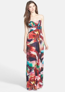 Nicole Miller 'Petal Power' Print Empire Chiffon Gown