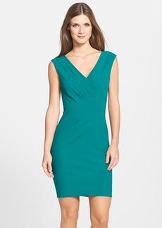 Nicole Miller Pleat Detail Surplice Body-Con Dress