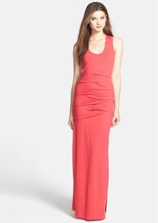Nicole Miller Pleated Jersey Racerback Maxi Dress