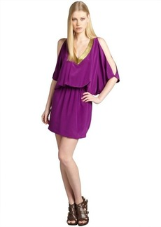Nicole Miller plum and gold silk beaded v-neck open batwing sleeve dress