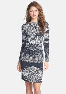 Nicole Miller Print Jersey Body-Con Sheath Dress