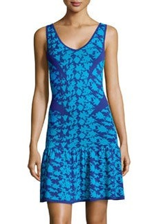 Nicole Miller Printed Drop-Waist Sleeveless Sweaterdress, Blue