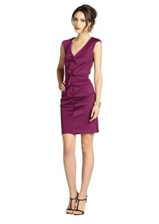 Nicole Miller purple sleeveless rouched V-neck evening dress