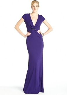 Nicole Miller purple stretch 'Lorelie' v-neck cap sleeve gown