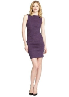 Nicole Miller purple stretch tweed sleeveless dress