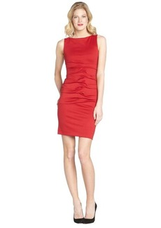 Nicole Miller red ponte knit ruched front sleeveless sheath dress
