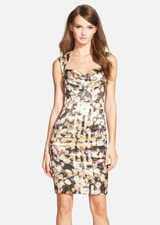 Nicole Miller 'Rose Trellis' Print Metallic Techno Sheath Dress