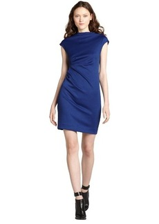 Nicole Miller royal blue ponte stretch cap sleeve dress