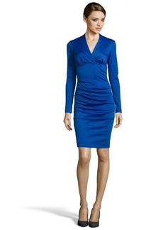 Nicole Miller royal blue ponte v-neck stretch long sleeve dress