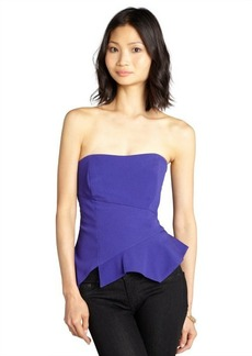 Nicole Miller royal crepe strapless asymmetrical seam peplum top