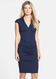 Nicole Miller Ruched Cap Sleeve Knit Sheath Dress