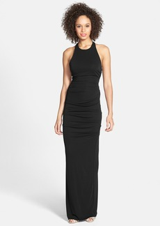 Nicole Miller Ruched Cross Back Jersey Gown