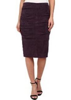 Nicole Miller Sandy Suede Tucked Skirt