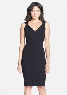 Nicole Miller Seamed V-Neck Jersey Body-Con Dress