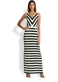 Nicole Miller Sequin Stripe Maxi Dress