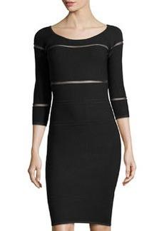 Nicole Miller Sheer-Inset Knit Dress, Black