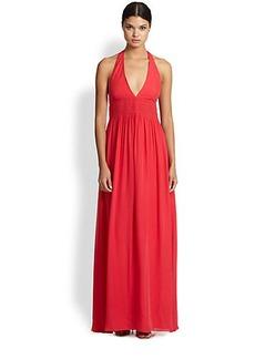 Nicole Miller Silk Smocked Halter Gown