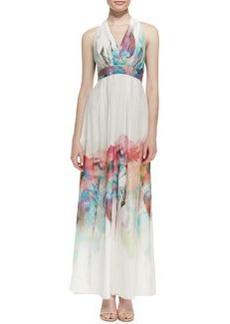 Nicole Miller Silk Watercolor Floral-Print Halter Gown