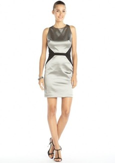Nicole Miller silver and black stretch shiny woven 'Cassie' halter dress