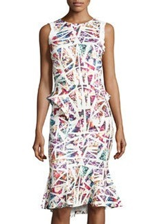 Nicole Miller Sleeveless Abstract/Floral-Print Dress, Ivory/Multi