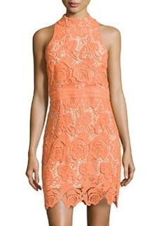 Nicole Miller Sleeveless Halter Lace Dress, Neon Orange
