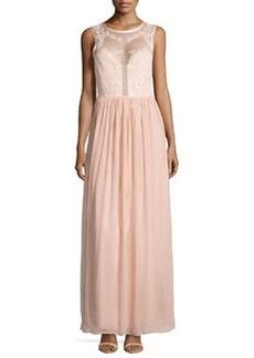 Nicole Miller Sleeveless Rose-Beaded Gown, Blush