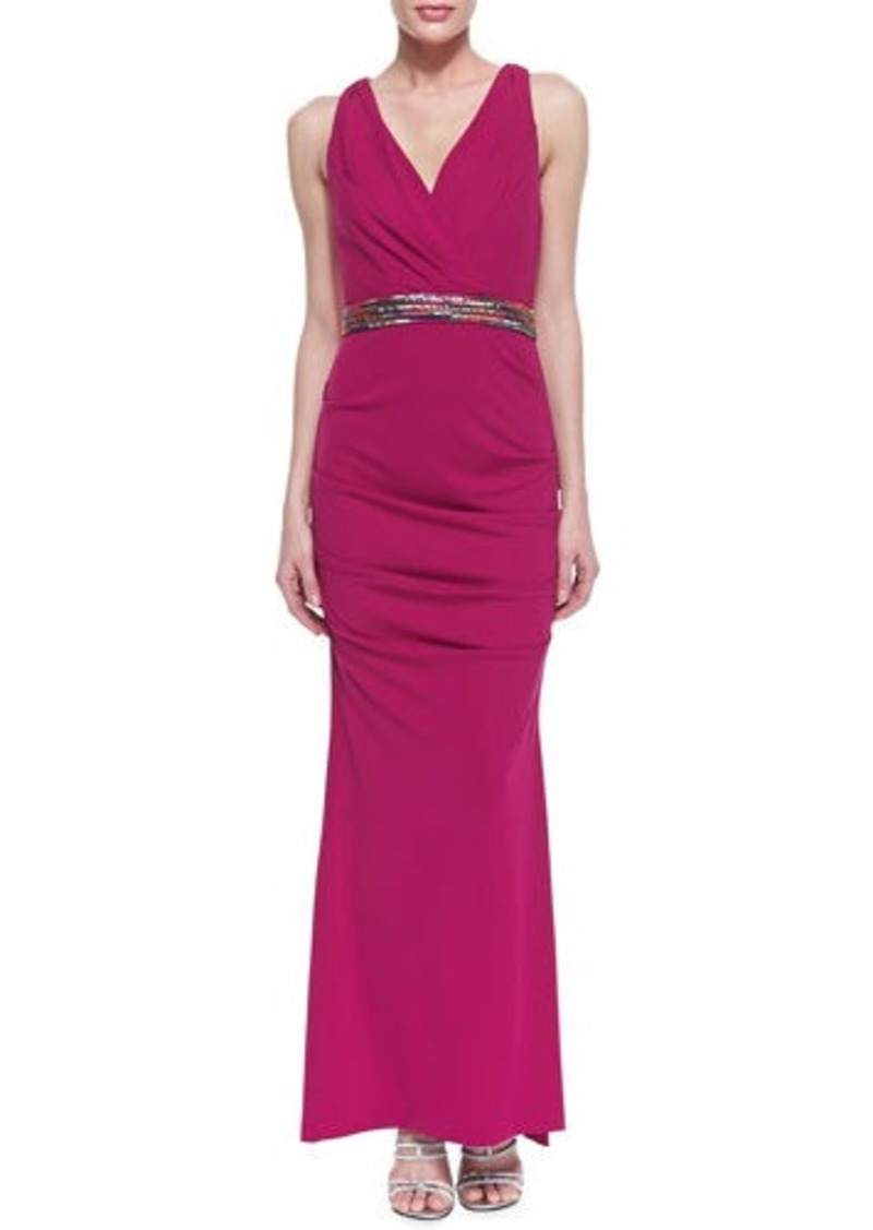 miller miller sleeveless ruched hip gown